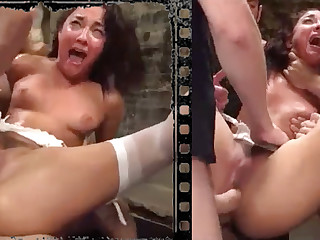 Messy beauty plowed xxx with five immense penises!