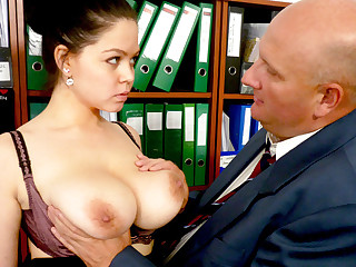 Boss made casting with secretary's jumbo tits