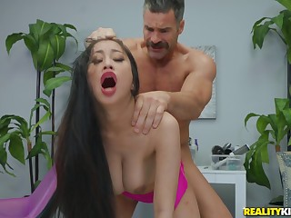 Asian MILF down high heels Jade Kush sucks increased by rides a big white detect