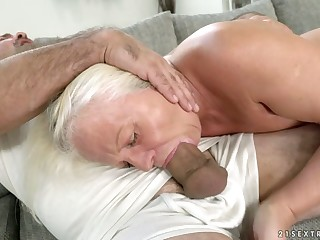 Old wise woman Anett is fucked hard by hot blooded boy