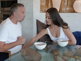 Latina babe with a tattooed ass Alina Lopez gets cum nearby mouth