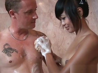 Asian doll illustrious a big cock a hot soapy knead