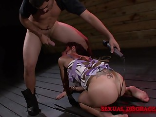 Horny Lola Love puts a penis deep inside her mouth on the floor