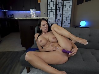 Mature lands her far-out toy on touching both holes and provides the best solo