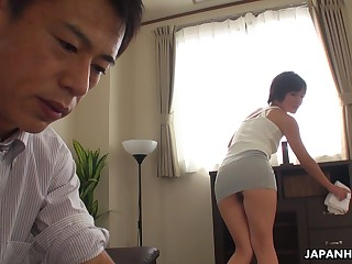 Asian maid teases her boss masterfully and then she gets his dick