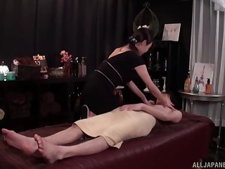 Sexy massage expert gets fucked on the food by will not hear of handsome customer