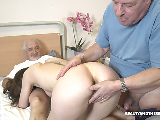 Fetching nurse pleases these old guys with one last fuck