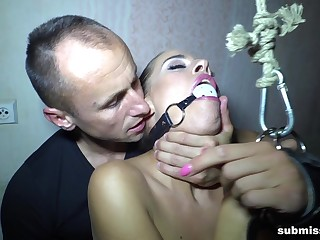 Skinny girlfriend Eveline Dellai tortured and fucked away from her BF