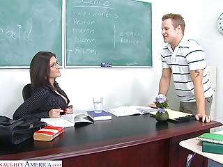 Downcast chemistry teacher Austin Kincaid gives her head and gets fucked on high the panel