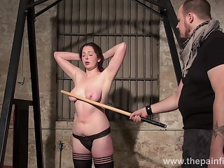 Submissive chubby woman Alora Lux gets spanked and punished in along to basement
