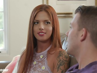 Long haired ginger babe Scarlett Mae gets her pussy licked and fucked by stepbrother
