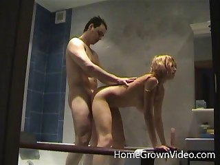 Blonde model Lily with massive unsophisticated tits fucked in the bathroom
