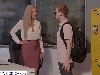 Horny nerdy MILFie crammer Nina Elle fucks well with her student on the desk