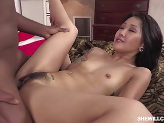 Surprising Asian brunette nearly sandals on every side high heels, Saya Song had sex on every side a horny, black guy