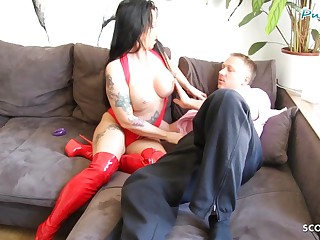 German Mother Seduce Plaything Crony to Fuck when Husband away