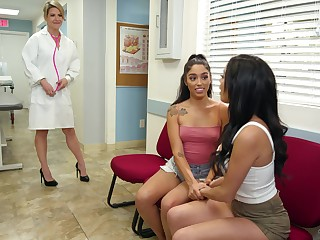 Sexy female doctor Kit Mercer is fucking two beautiful lesbians