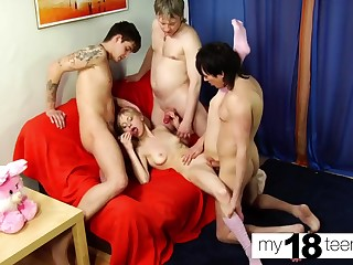 SexWife Double Blowjob and Double Penetration nigh Prepare Sex