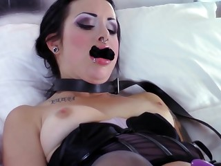 Kinky latitudinarian with purple hair is spanking her worthless sex slave before playing with her pussy