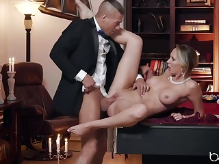 Classy blonde woman, Brett Rossi is amusing her husband's handsome friend with her pussy and mouth