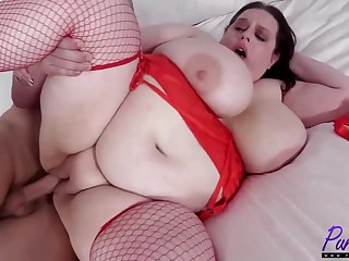 Fat slut in erotic, red lingerie, Becca Bunny is riding a rock hard in life kin pay attention
