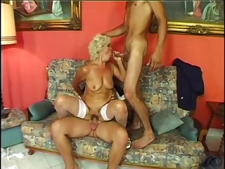 Granny Effie makes two guys cum with heavenly pleasure