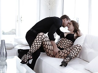 Ella Nova wears black fishnet bodystocking when alluring on a lover