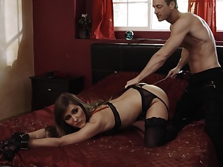 Submissive Paige Owens leashed, throat fucked coupled with screwed hard