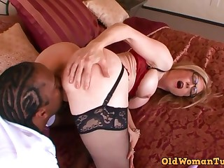 Astonishing, mature blonde, Nina Hartley likes to have sex with a sulky guy, once in a while