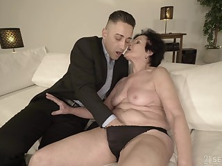 Horny granny is in the presence of wet enough for that young man
