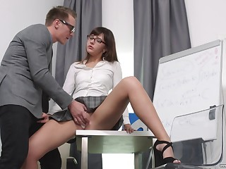 Secretary Katty Blessed drops beyond her knees to please her boss