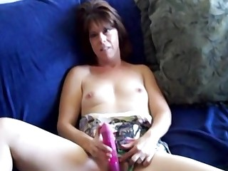 Mature amateur lady sucks cock and uses a satisfactory pink bagatelle