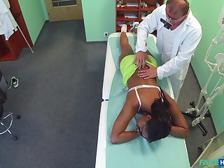 Ebony girl filmed respecting secret when riding her doctor's dick