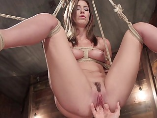 First bondage and she's acting really submissive