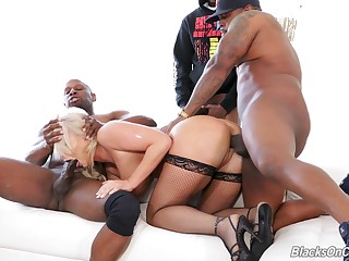 Black studs explanations a mess of horny light-complexioned London River during rough gangbang