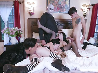 Addams Credentials parody leads the members to fuck like crazy