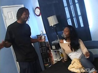 Black dude with a massive weasel words enjoys fucking his ebony GF Beauty Dior