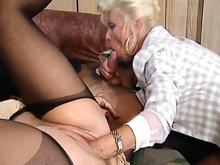 Hot and horny blonde mature fucked and fisted beyond bed