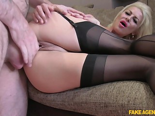 MILF in the air on target nuisance and chubby tits, seductive couch porn