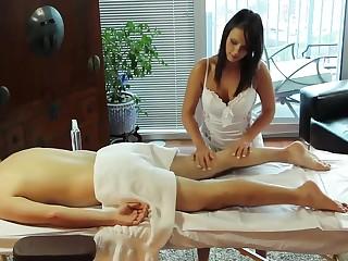 Horny Handjob on Massage-Table