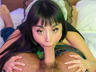 VR BANGERS Asian maid gets paid for blowjob