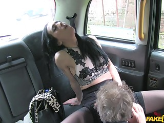 Stunning battle-axe Skyla teases the taxi driver and rides his dick
