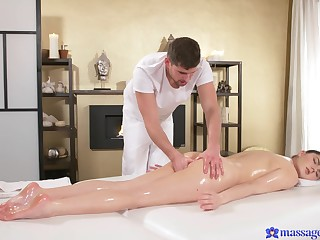 Francesca DiCaprio gets oiled up, rubbed down and comprehension masseur with sex