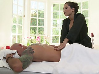 Aroused woman gives this defy more than just a massage