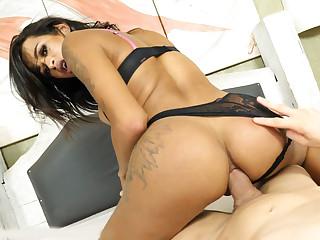 Brazilian transsexual Sammy Bittencourt enjoys hard anal sex bareback