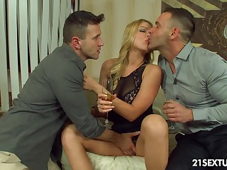 Naughty student Lucy Heart gets double penetrated for the first discretion