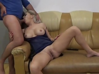 Massage Stepmom And Be captivated by His Shaved Pussy