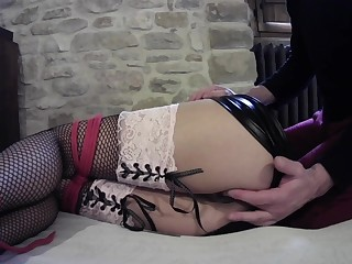 Foxy slave girl in fishnet gets her wet pussy fingered good