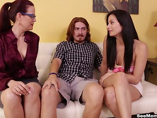 Lucky dude gags both his girl and will not hear of parching mom