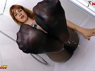 Redhead Irina Vega near pantyhose masturbates near the shower
